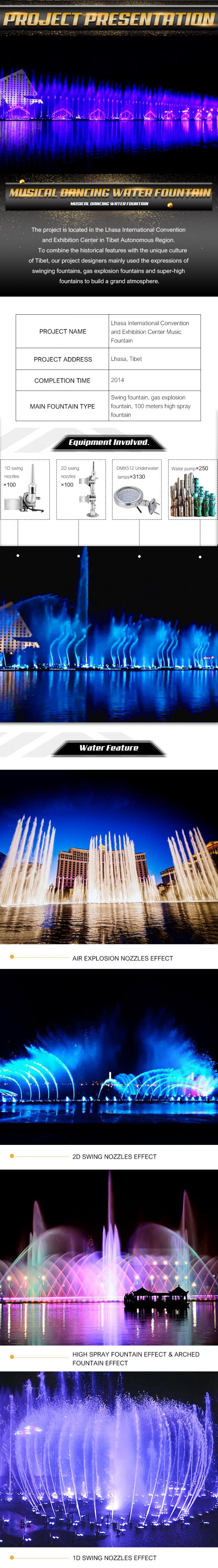 Large Swing Musical Water Fountain Show Customized Size / Water Shape