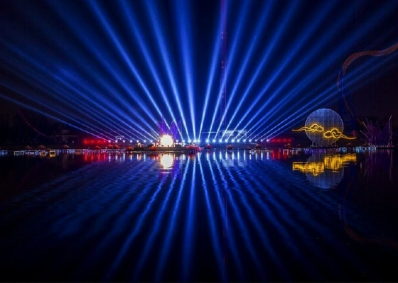 China Large Beautiful 3d Laser Light Show  / Laser Water Fountain With PC Control System factory