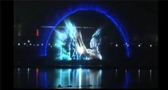 China Creative Outdoor Digital Laser Water Screen Curtain , Laser Water Fountain Movie factory