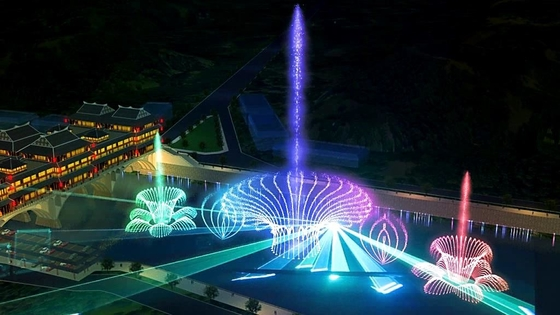 China Self Designed Outdoor Laser Light Show With Music Dancing Water Fountain factory