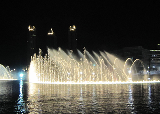 China High Spray Color Changing Led Fountain , Big Water Fountain Project 380V factory