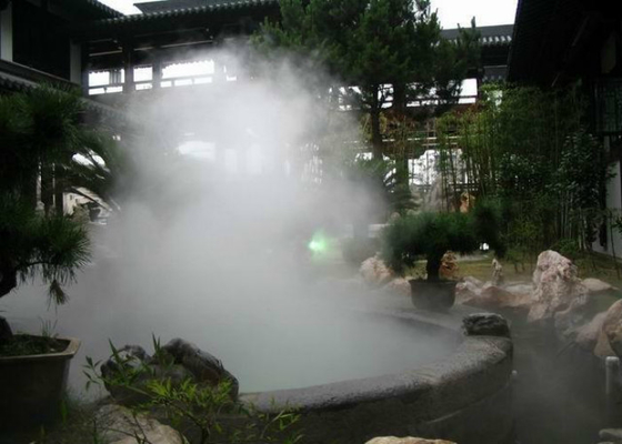 China Electric Smoking Water Fog Fountain , Large Misting Fountains With Lights factory