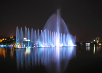 Outdoor Playing Musical Water Fountain With Led Underwater Lights PC Controlled