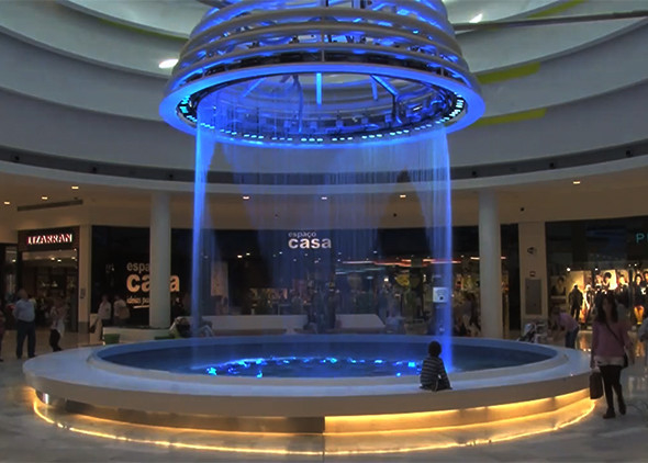 Beautiful String Water Curtain Fountain , Programmable Water Screen Fountain supplier